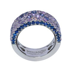 Blue Purple Sapphires 18 Karat White Gold Riviera Ring