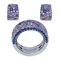 Blue Purple Sapphires 18 Karat White Gold Riviera Suite
