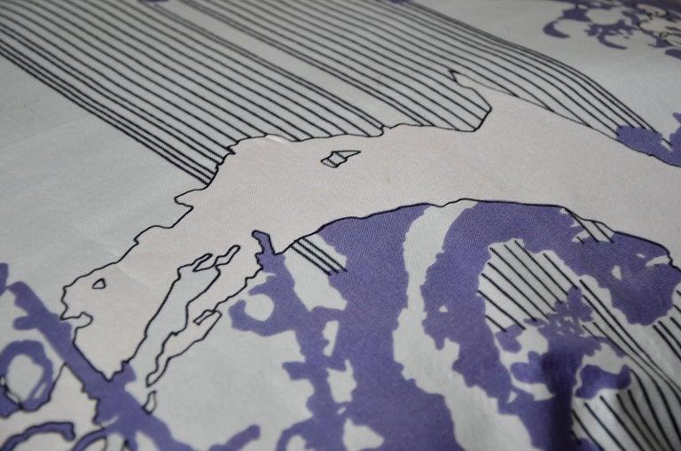 Blue, Purple, White and Black Vintage Jean Patou Silk Scarf Decorative Pillow For Sale 5