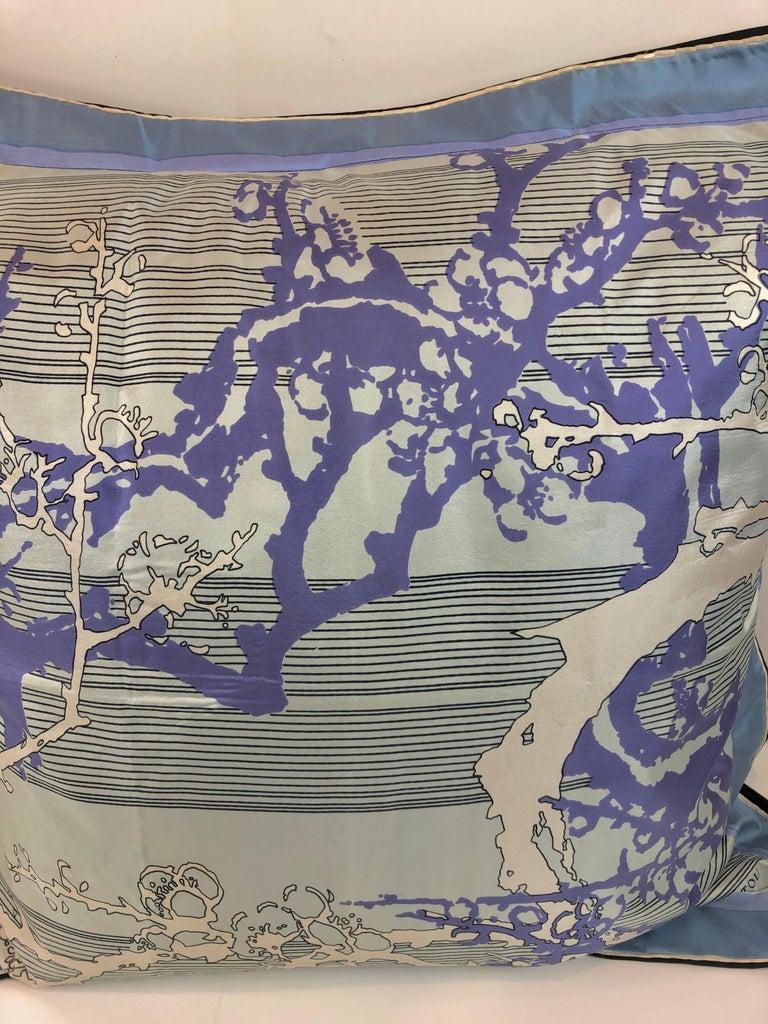 Blue, Purple, White and Black Vintage Jean Patou Silk Scarf Decorative Pillow For Sale 6