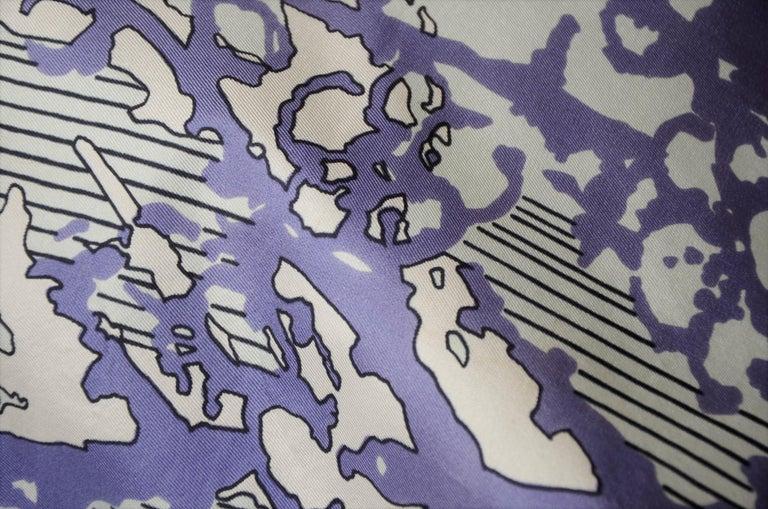 Blue, Purple, White and Black Vintage Jean Patou Silk Scarf Decorative Pillow For Sale 7
