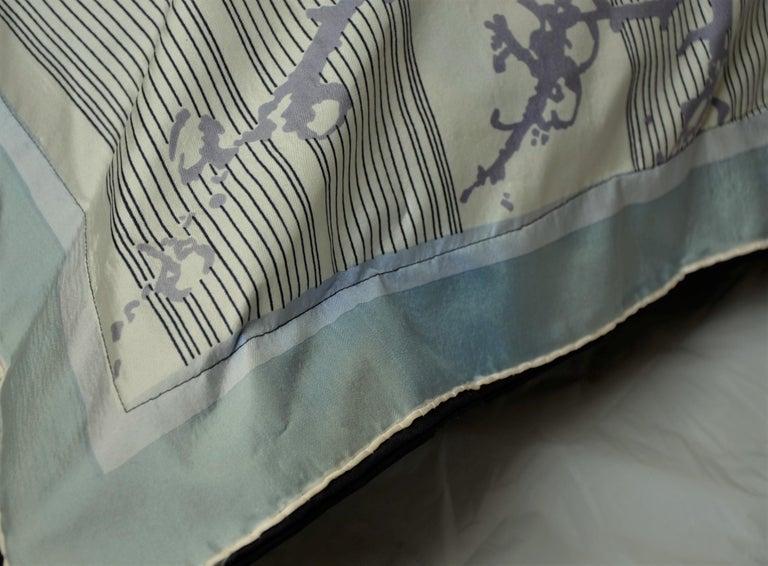 Blue, Purple, White and Black Vintage Jean Patou Silk Scarf Decorative Pillow For Sale 8