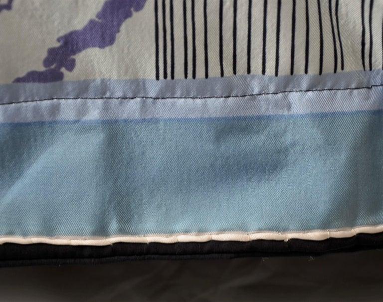 Blue, Purple, White and Black Vintage Jean Patou Silk Scarf Decorative Pillow For Sale 9
