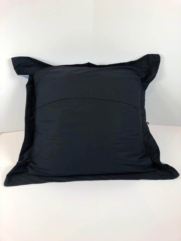 Blue, Purple, White and Black Vintage Jean Patou Silk Scarf Decorative Pillow For Sale 10