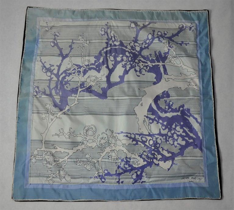 Blue, Purple, White and Black Vintage Jean Patou Silk Scarf Decorative Pillow For Sale 11