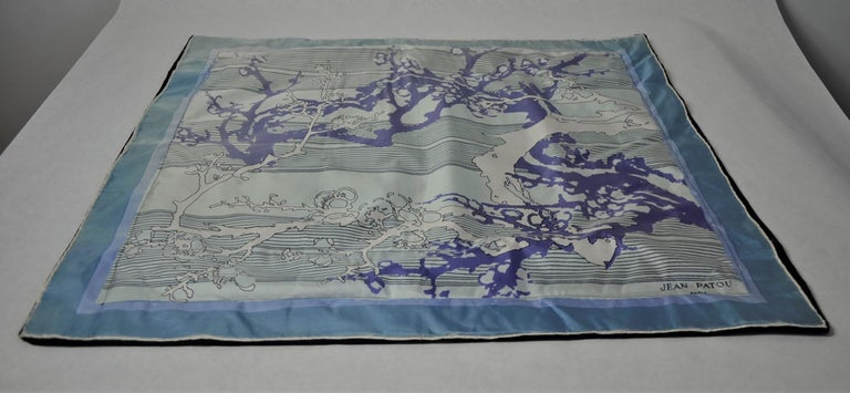 Blue, Purple, White and Black Vintage Jean Patou Silk Scarf Decorative Pillow For Sale 12