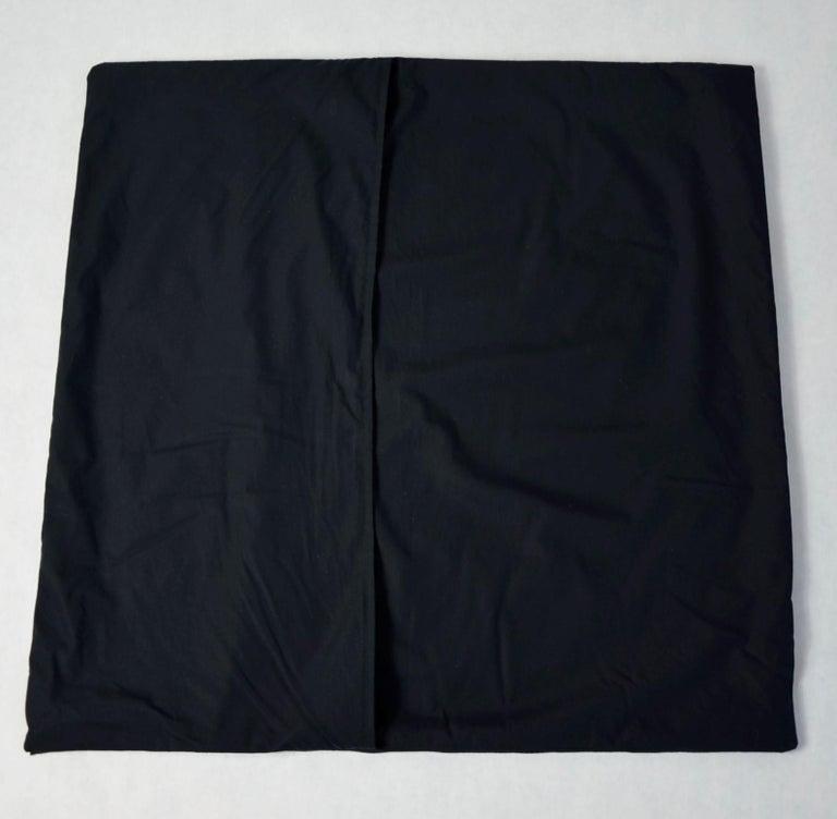 Blue, Purple, White and Black Vintage Jean Patou Silk Scarf Decorative Pillow For Sale 13