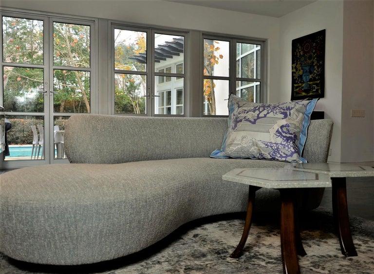 Blue, Purple, White and Black Vintage Jean Patou Silk Scarf Decorative Pillow For Sale 15