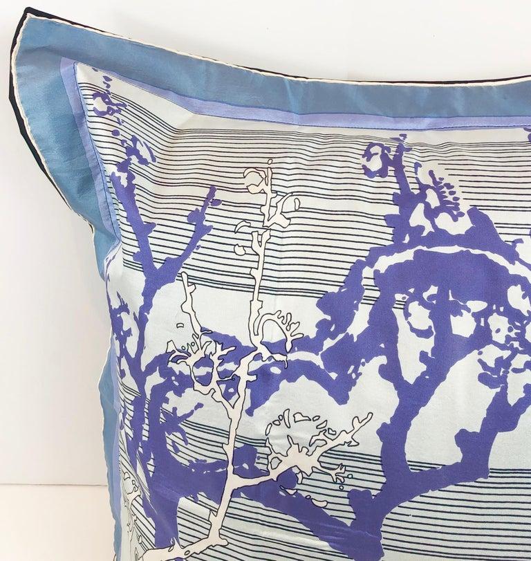 Gray Blue, Purple, White and Black Vintage Jean Patou Silk Scarf Decorative Pillow For Sale