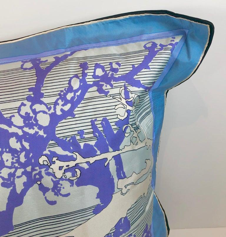 Blue, Purple, White and Black Vintage Jean Patou Silk Scarf Decorative Pillow In Good Condition For Sale In Houston, TX
