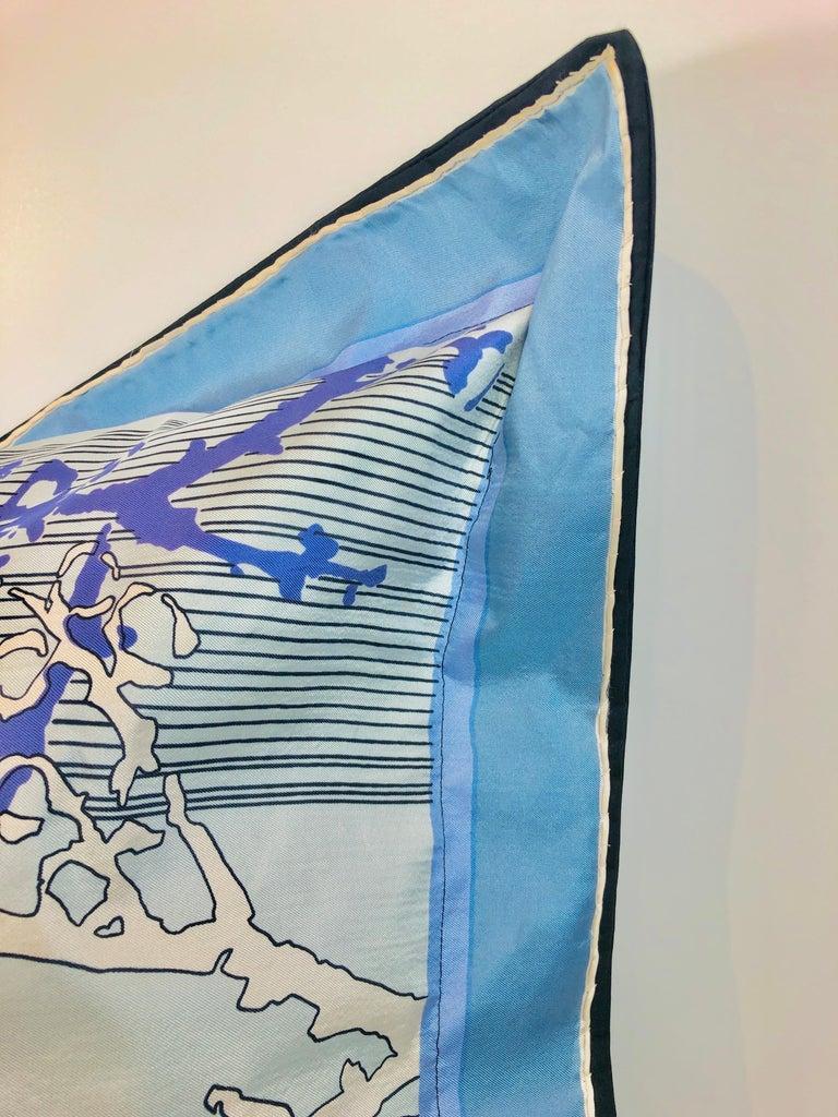 Women's or Men's Blue, Purple, White and Black Vintage Jean Patou Silk Scarf Decorative Pillow For Sale