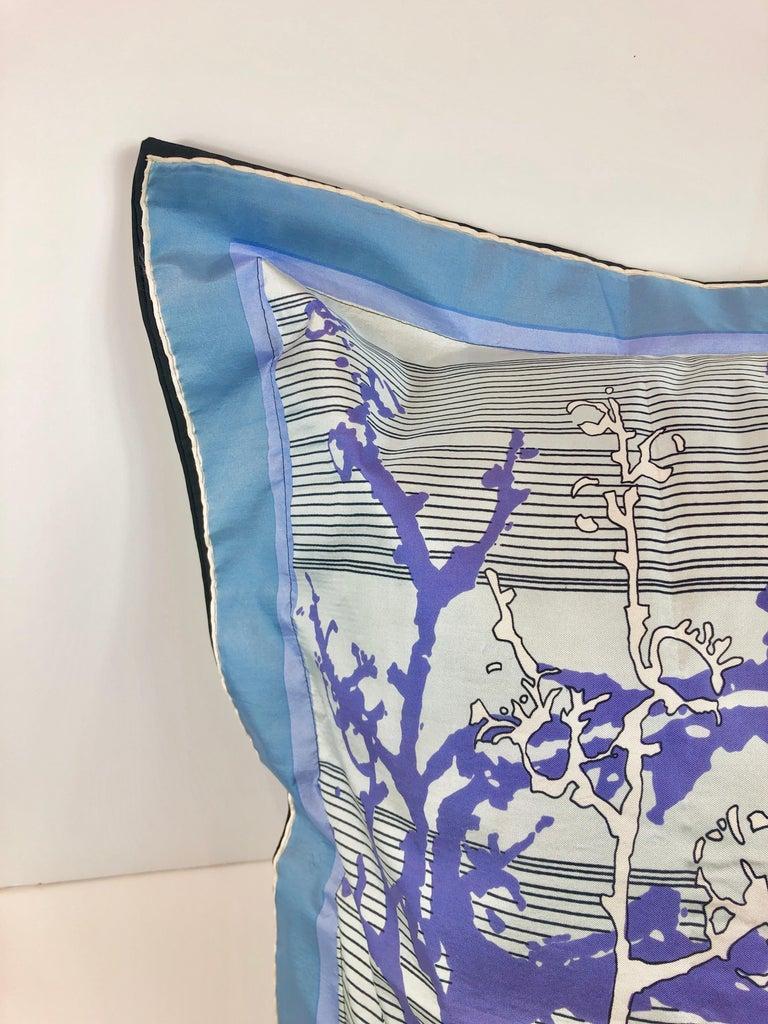 Blue, Purple, White and Black Vintage Jean Patou Silk Scarf Decorative Pillow For Sale 1