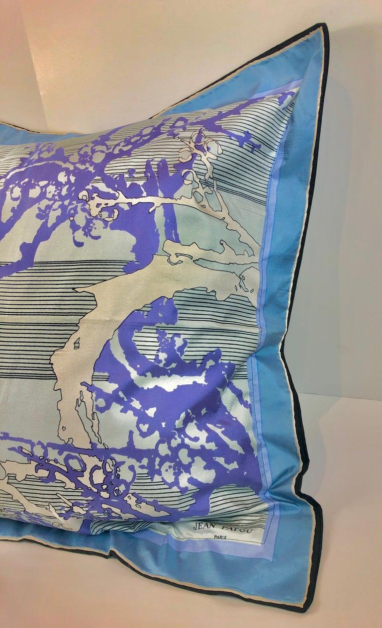 Blue, Purple, White and Black Vintage Jean Patou Silk Scarf Decorative Pillow For Sale 2