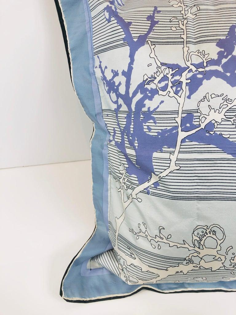 Blue, Purple, White and Black Vintage Jean Patou Silk Scarf Decorative Pillow For Sale 3