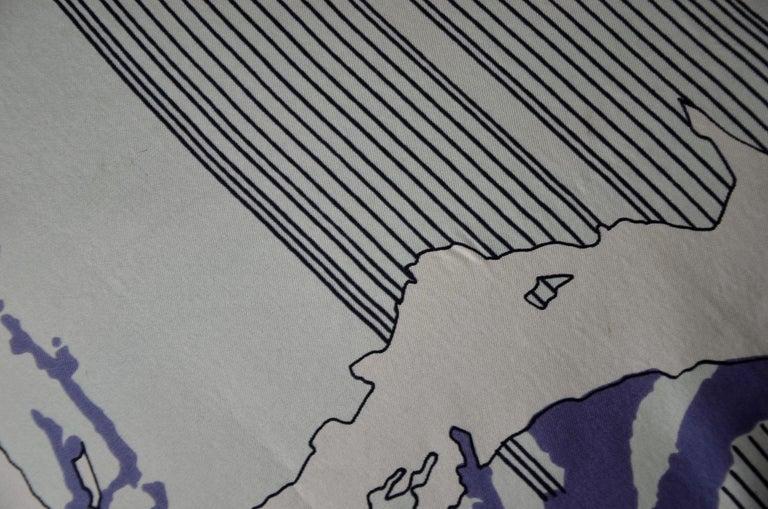 Blue, Purple, White and Black Vintage Jean Patou Silk Scarf Decorative Pillow For Sale 4