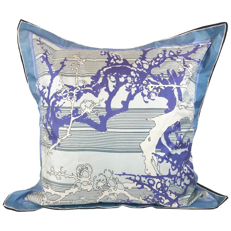 Blue, Purple, White and Black Vintage Jean Patou Silk Scarf Decorative Pillow For Sale