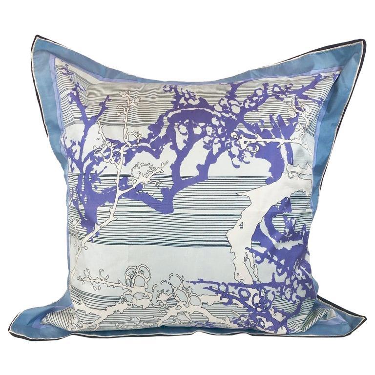 Blue, Purple, White and Black Vintage Jean Patou Silk Scarf Decorative Pillow For Sale