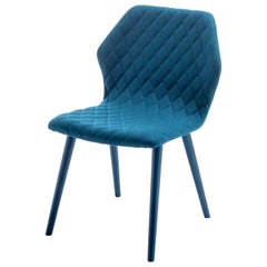 Blue Quilted Ava Chair Designed by Michael Schmidt, Made in Italy