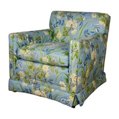 Blue Quilted Chintz Original Cabbage Rose Floral Hollywood Regency Club Chair