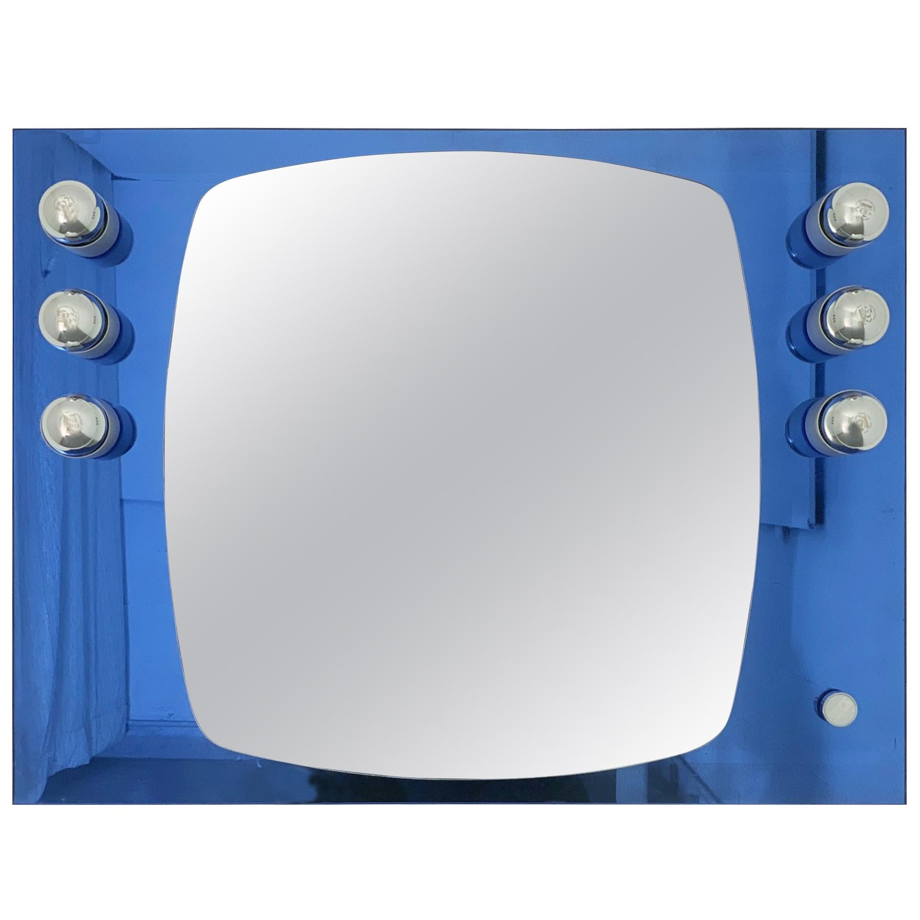 Blue Rectangular Mirror with Lights by Veca