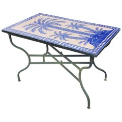 Blue Rectangular Moroccan Mosaic Dinning or Coffee Table, Tree of Life