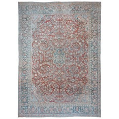 Blue and Red Antique Persian Mahal Carpet
