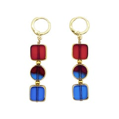 Blue & Red Translucent German Beads edged with 24K Gold