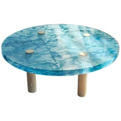 Handmade Blue Resin Coffee Table with Wood Legs