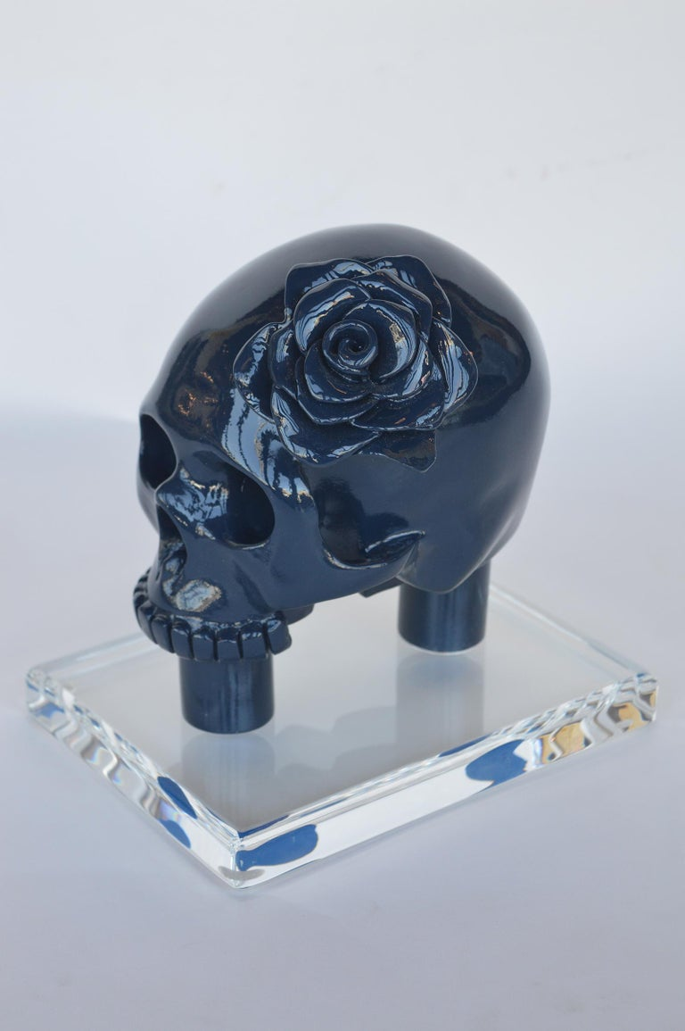 Mexican Blue Resin Skull For Sale