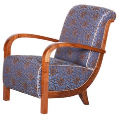 Blue Restored Art Deco Armchair, New Upholstery with Fabric Backhausen, 1920s