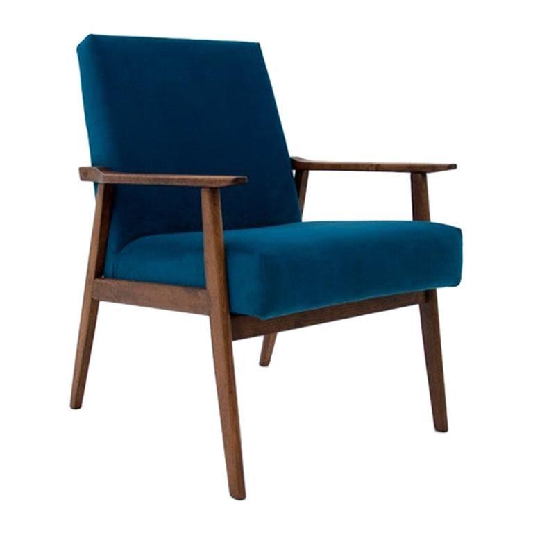 Blue Retro Armchairs by Henryk Lis, Model 300-190, Polish ...