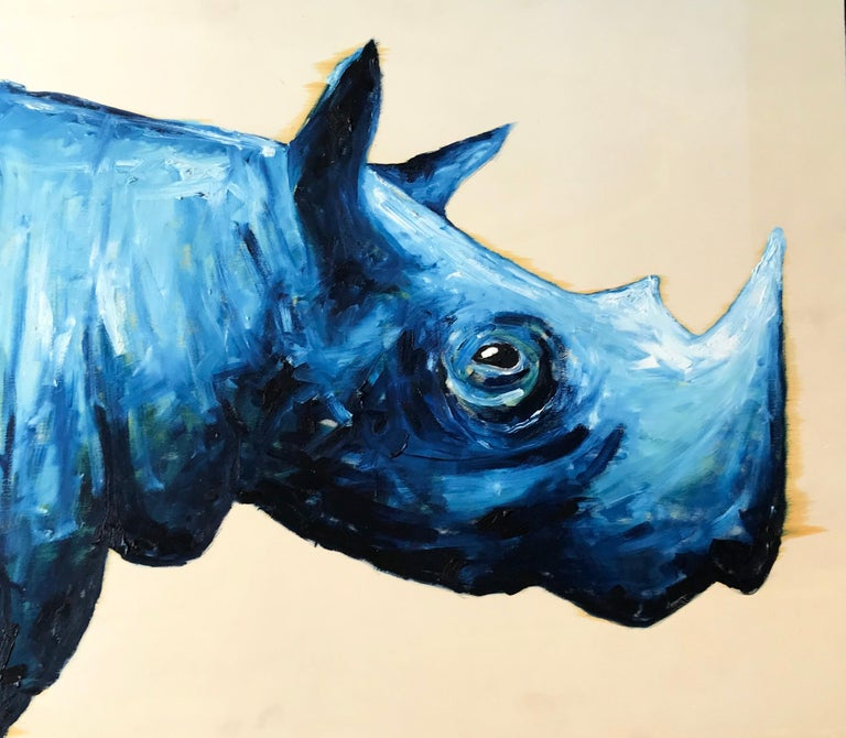 Blue rhinoceros. Contemporary acrylic painting of a simpatico rhino on raw wood panel. Unsigned. Italy, 2019. Dimensions: 22