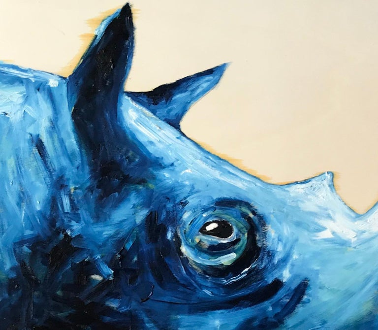 Blue Rhinoceros In Excellent Condition For Sale In New York, NY