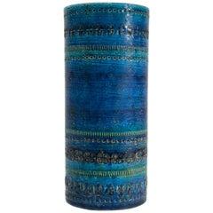 Blue Rimini Series Vase by Aldo Londi for Bitossi, 1950s
