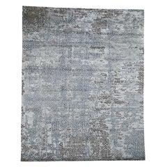 Blue Roman Mosaic Erased Design Wool and Silk Handmade Oriental Rug