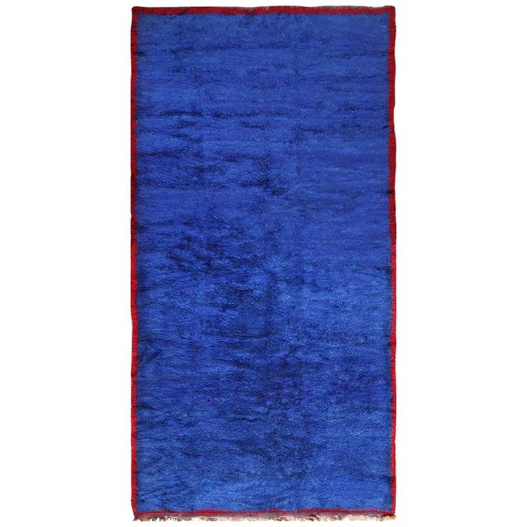 Blue Room Size Vintage Moroccan Rug For Sale At 1stdibs