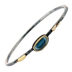 Blue Rose Cut Spinel, Mixed Metal Sterling Silver, Gold Bangle Bracelet