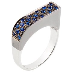 Sapphire Blue Round Cross Rose Square 18 Karat White Gold Band Handmade Ring