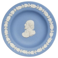Blue Round Wedgwood Jasperware Dish with Man and Floral Detail, England