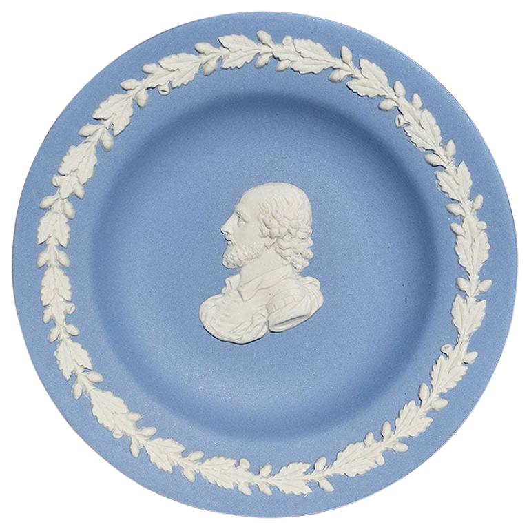 Blue Round Wedgwood Jasperware Dish with Man and Floral Detail, England For Sale