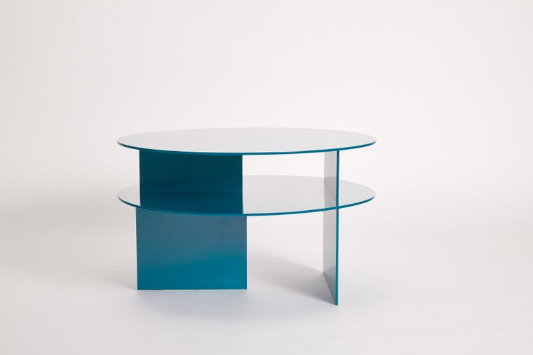 Aluminum Blue Sanora Coffee Table by Ben Barber Studio For Sale