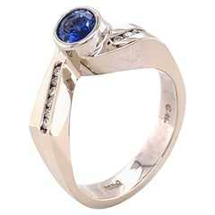 Blue Sapphire '0.59 Carat' Gold and Diamond Ring