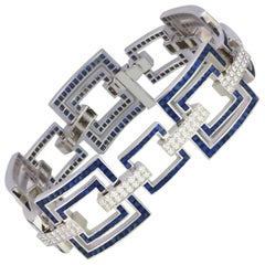 Blue Sapphire 13.43 Cts with Diamond 2.13 Cts Bracelet in 18k White Gold Setting