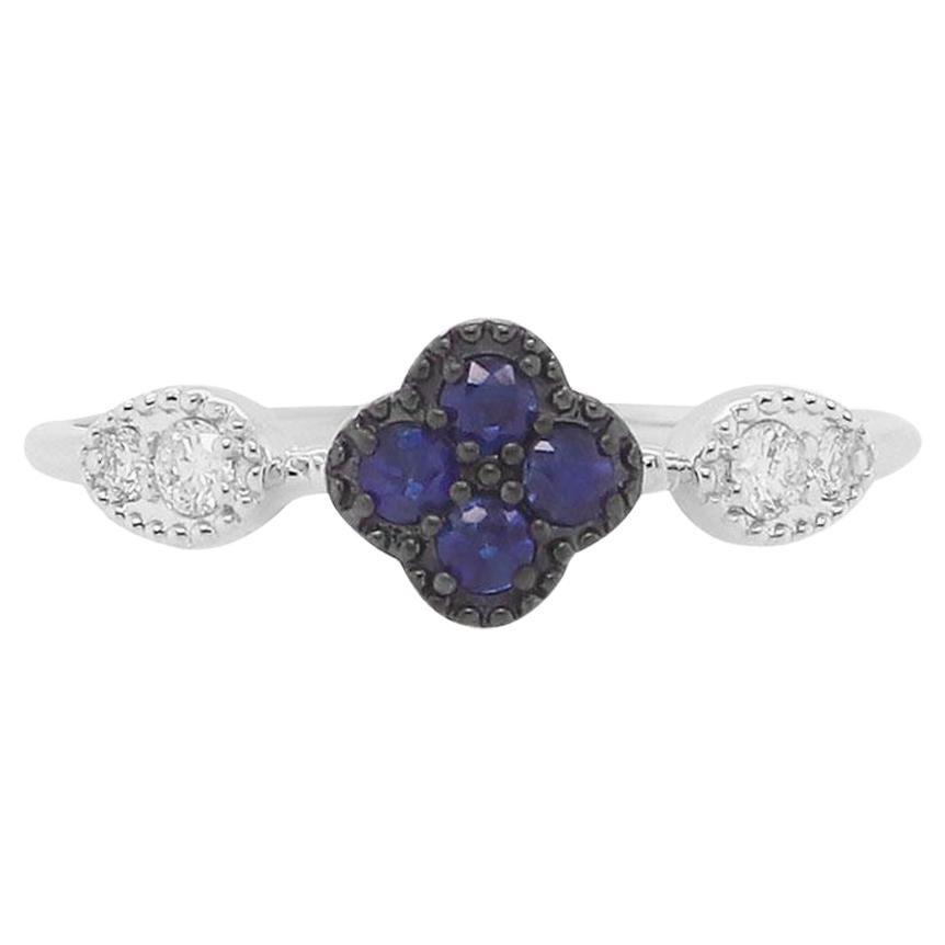 Blue Sapphire 14 Karat White Gold Diamond Fashion Clover Ring