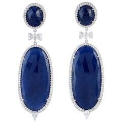 Blue Sapphire 18 Karat Gold Diamond Earrings