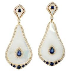 Blue Sapphire 18 Karat Gold Mother of Pearl Diamond Earrings