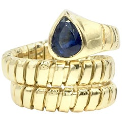 Blue Sapphire 18 Karat Gold Wrap Ring