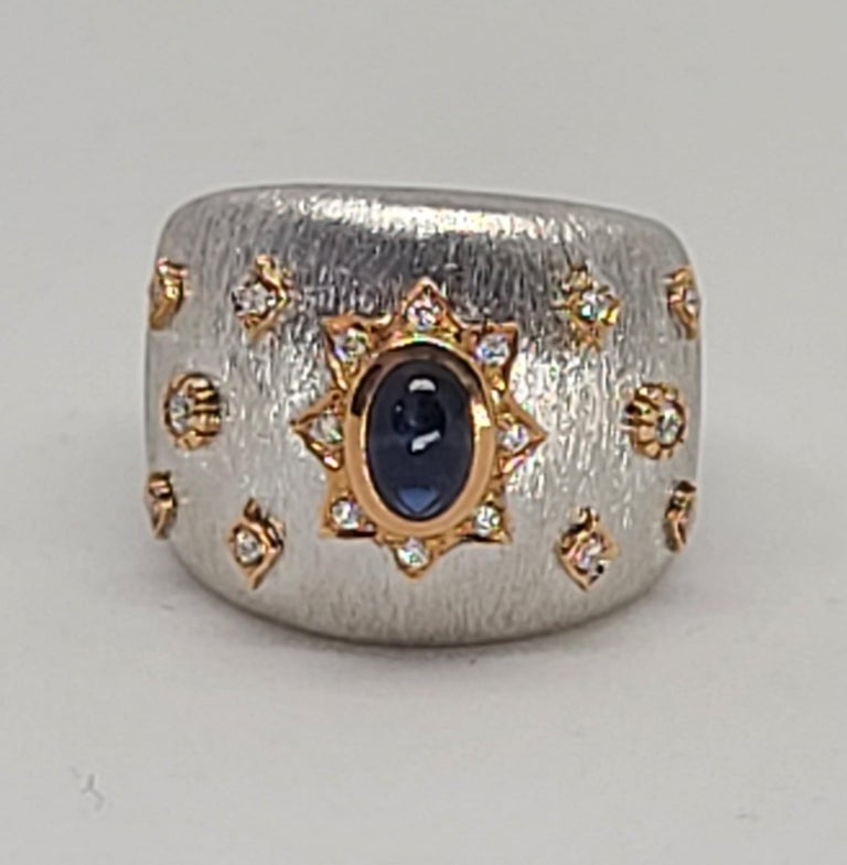 Blue Sapphire 18k White Rose Gold Diamonds Cocktail Ring in Florentine Finish For Sale 6