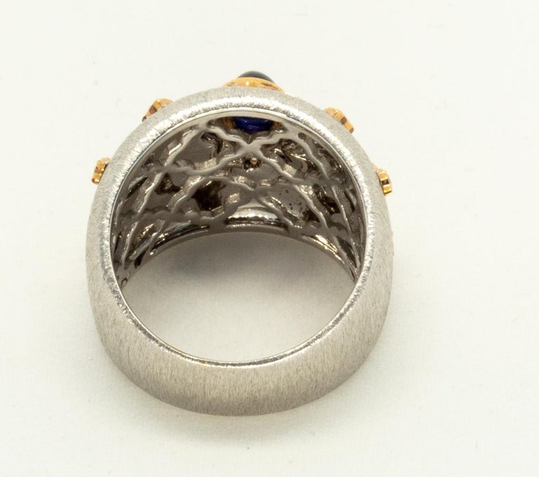 Women's Blue Sapphire 18k White Rose Gold Diamonds Cocktail Ring in Florentine Finish For Sale