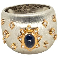 Blue Sapphire 18k White Rose Gold Diamonds Cocktail Ring in Florentine Finish